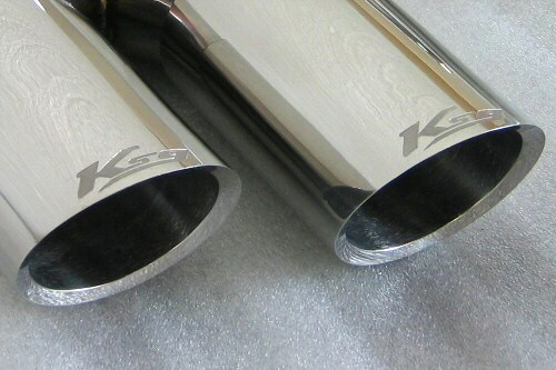 "Photo1: [Porsche 955 Cayenne Exhaust Muffler]  Stainless Billet floating curl tail & sand blast ""Ksg"" logo mark with Cat-back F1 Sound Valvetronic Exhaust System"